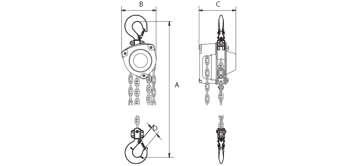 OZ Industrial Chain Hoist Dimensions & Specifications